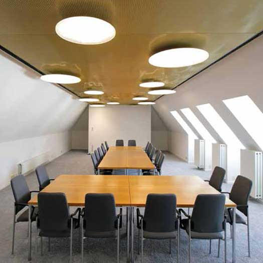 Gold-anodized aluminum mesh ceiling
