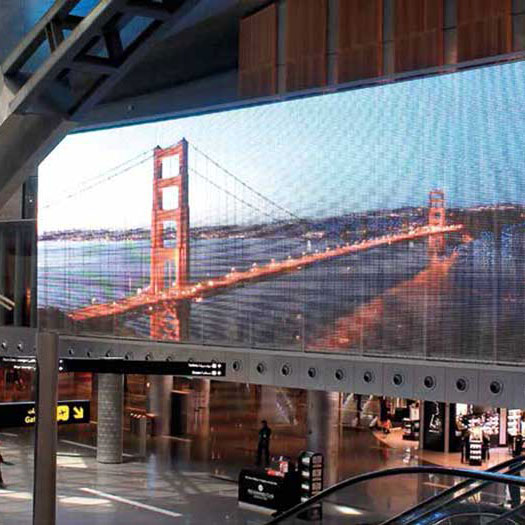 Large-format Mediamesh screens with LED profiles using GKD Stainless Steel Mesh